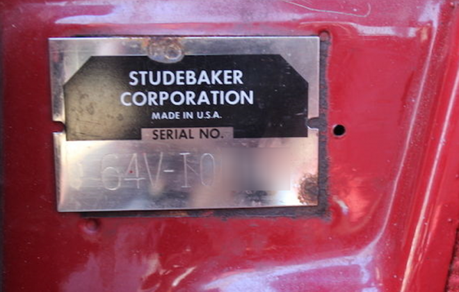 1964 Studebaker Daytona Seties I VIN plate Chassis number plate ID.png