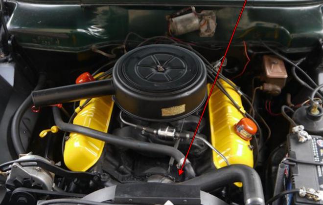 1964 Studebaker Daytona engine number location 289 259 ci copy.png