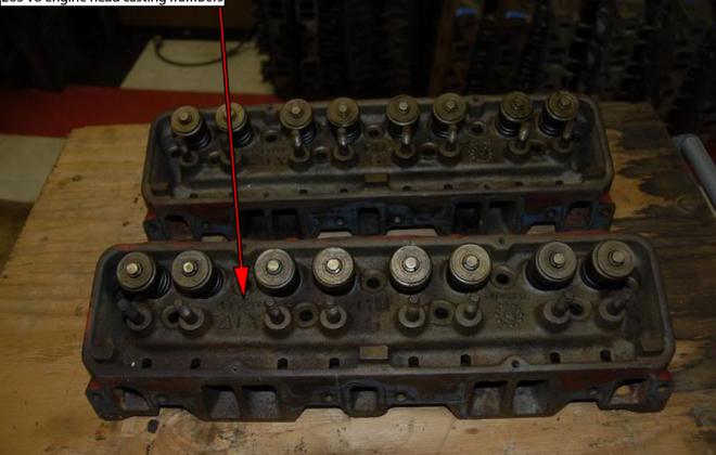 1965 - 1966 Studebaker 283ci V8 engine head casting number location.png