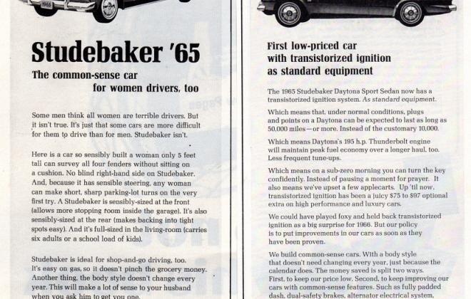 1965 Studebaker Daytona Sports Sedan original advertisement promotional material (2).JPG