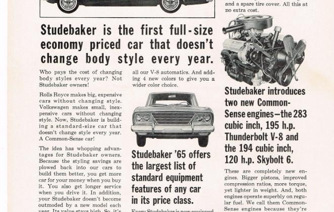 1965 Studebaker Daytona Sports Sedan original advertisement promotional material (1).JPG