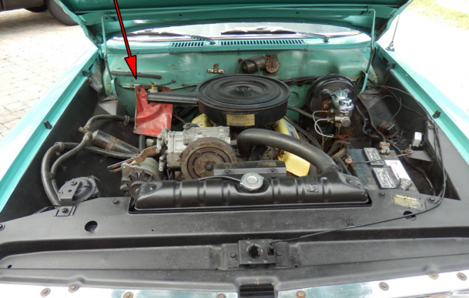 1965 Studebaker Sports Sedan body tag locations on bulkhead firewall engine bay VF8.png