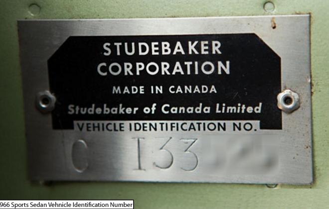 1966 Studebaker Daytona Sport Sedan 6 cylinder VIN plate chassis number.png