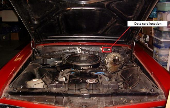 1967 Pontiac GTO engine bay Data card location 2.jpg