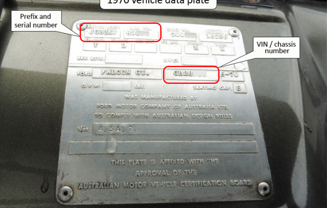 1970 XW Falcon GT vehicle ID data plate image Serial number.png