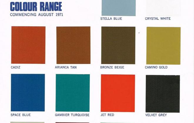 1971 Leyland Mini Clubman GT Australia paint colours chart.png