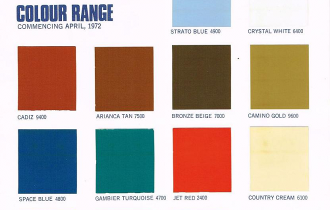 1972 Leyland Mini Clubman GT paint colour charts.png