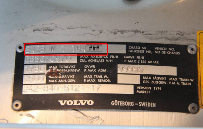 1979 Volvo 242 GT data plate VIN number chassis number image.png