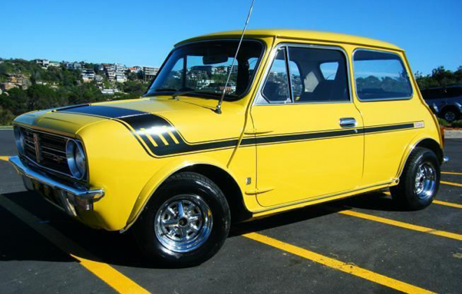 Australian Leyland Mini Clubman Bold as Brass yellow paint (1).png