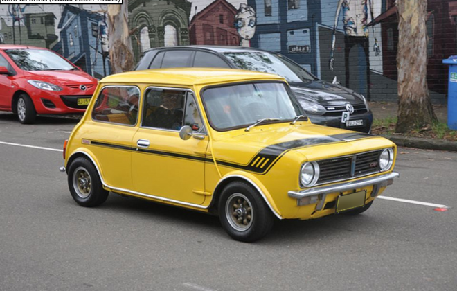 Australian Leyland Mini Clubman Bold as Brass yellow paint (2).png
