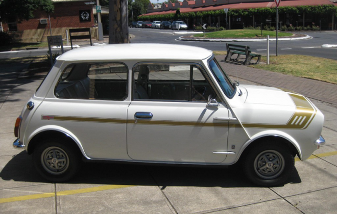 Australian Leyland Mini Clubman GT white with gold stripes.png