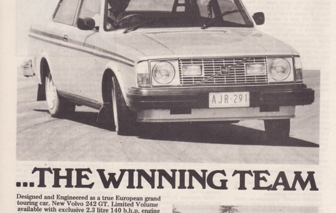 Australian advertisement for Volvo 242 GT coupe image newspaper magazine.png