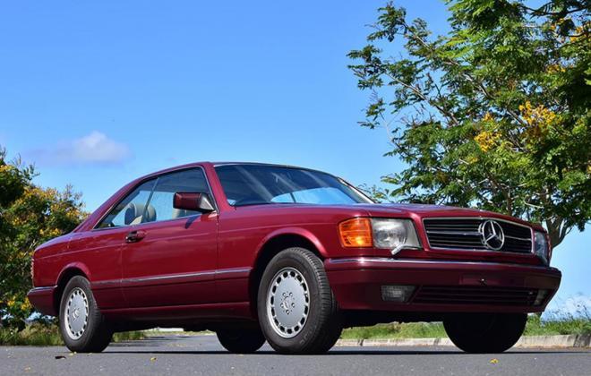 Burgundy maroon Mercedes 560SEC Australian delivered coupe car images (1).jpg