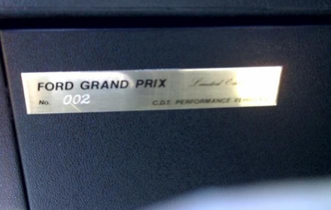 CDT build number plate Ford XE Grand Prix Dick Johnson.jpg
