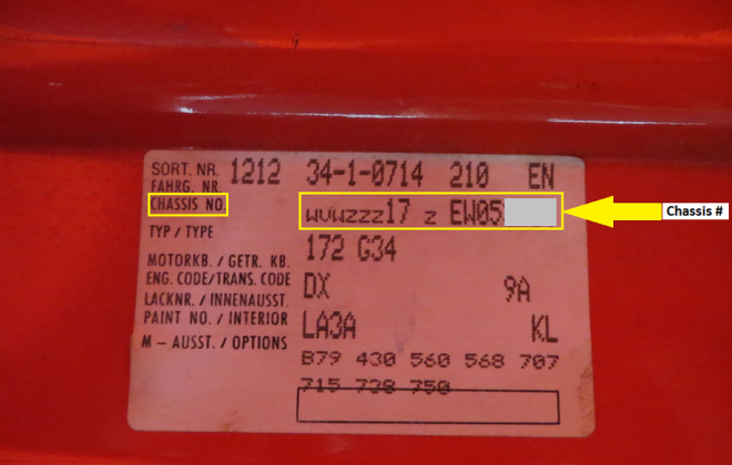 Chassis number on body sticker label MK1 GTI campaign.png