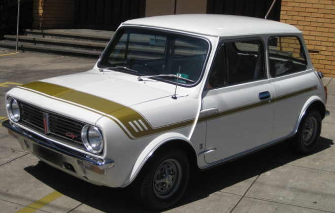 Crystal White Leyland Mini Clubman GT Australia gold stripes.png