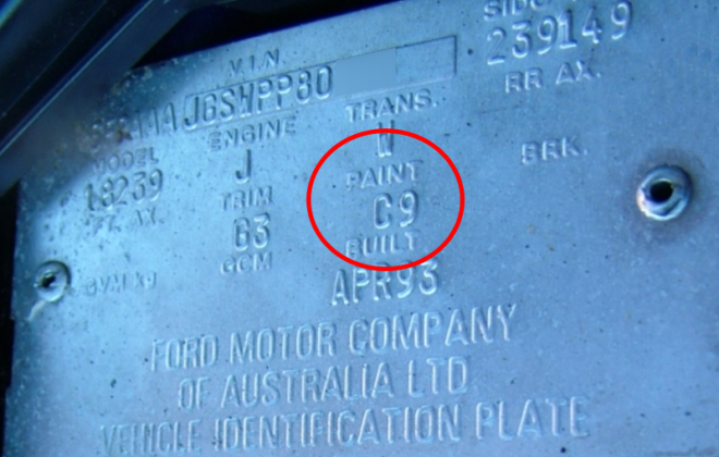 EB Ford Falcon GT paint code location on VIN data plate.png