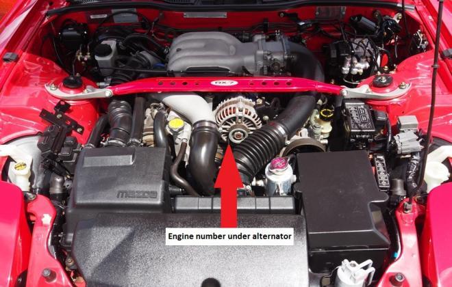 Engine number location - Mazda RX-7 Spirit R 13B REW.jpg