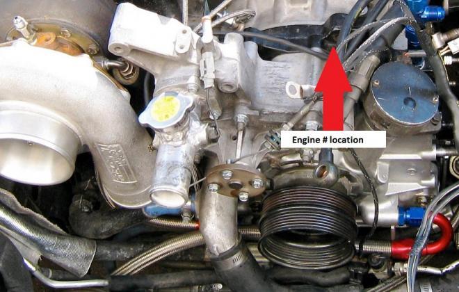 Engine number location Mazda RX-7 Spirit R 13B REW.jpg