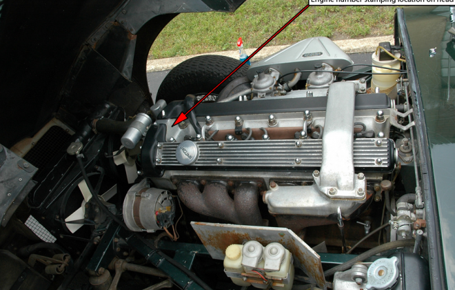 Engine number stamping location E type XKE 1968 on head.png