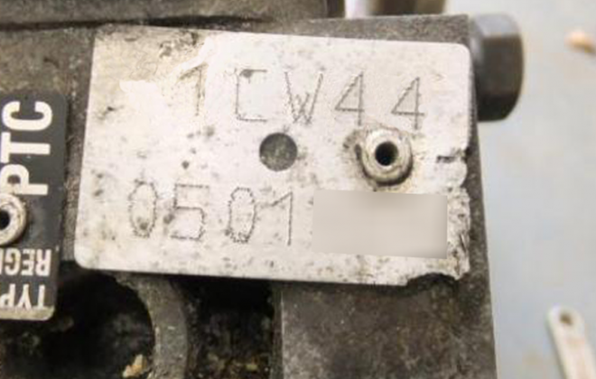 Engine number tag Peugeot 205 GTI block.png