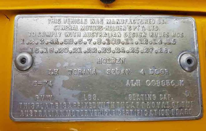Holden Torana SLR5000 compliance plate chassis number VIN (2).jpg
