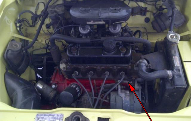 Leyland Mini GTS engine number location engine bay.png