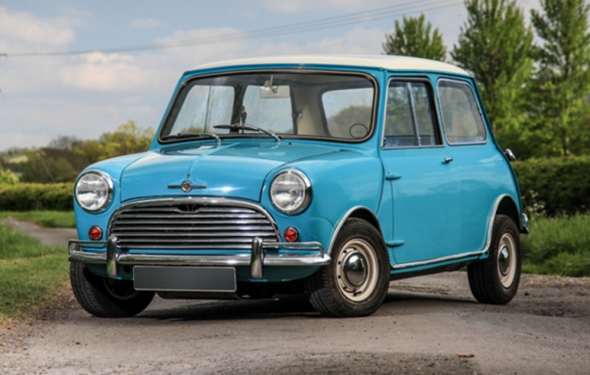 MK1 Morris Cooper S Old English White (WT3) over Surf Blue (BU35) paint image (.png