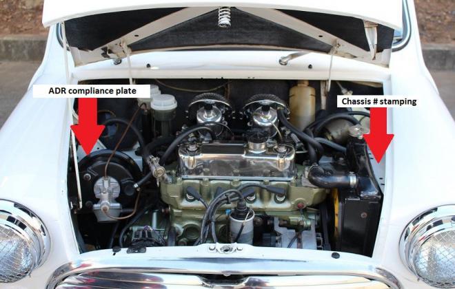 MK2 Morris Cooper S Australia engine bay chassis number location.jpg