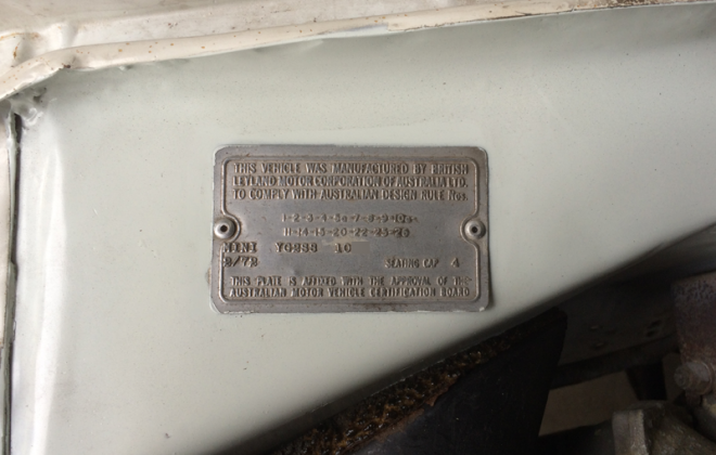 Mini Clubman GT compliance data plate Australia.png