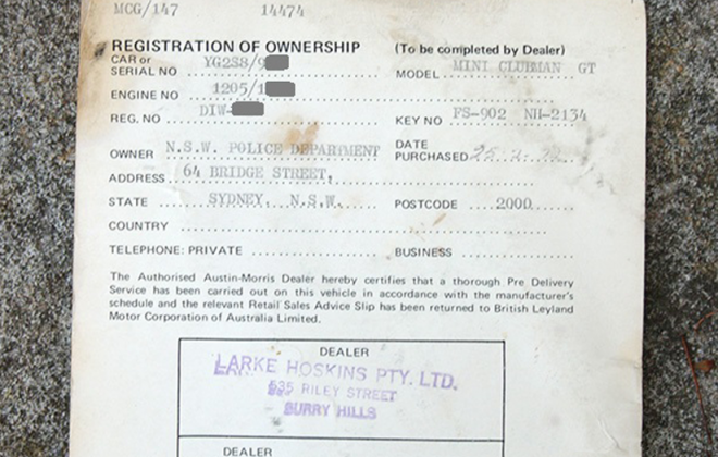 Mini Clubman GT police dealer issued documentation.png