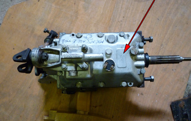 Moss gearbox number lkocation on top of housing.png