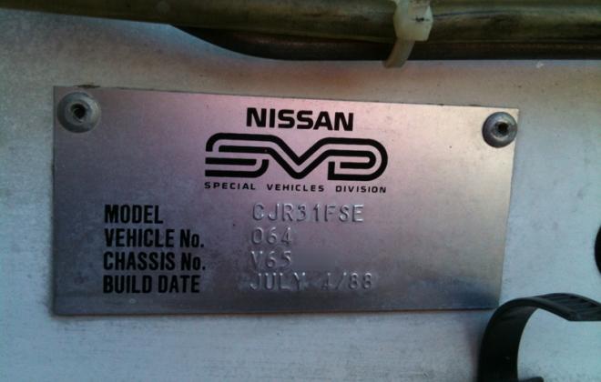 Nissan Skyline R31 SVD build plate GTS1 Silhouette Australia build number 064 sedan 1988  (11).png