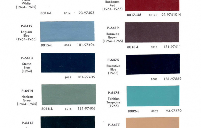Original paint colour chip charts for 1965 Studebaker (2).png