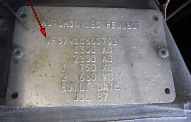 Phase 1 205 GTI data plate chassis number 1987.png