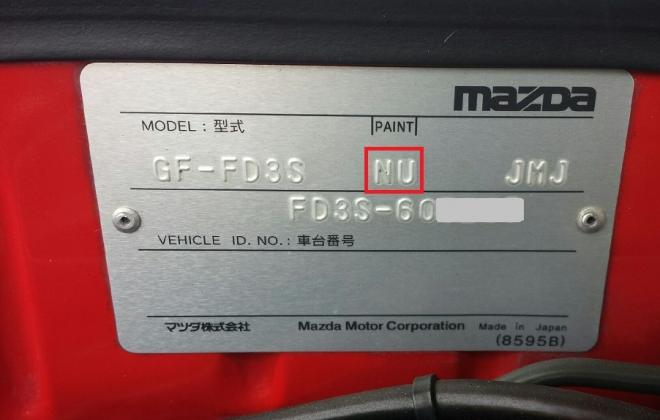RX-7 Spirit R Type A - VIN plate with paint code.jpg