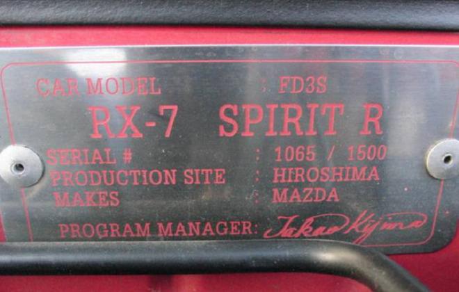 RX7 Spirit R serial number plate.png