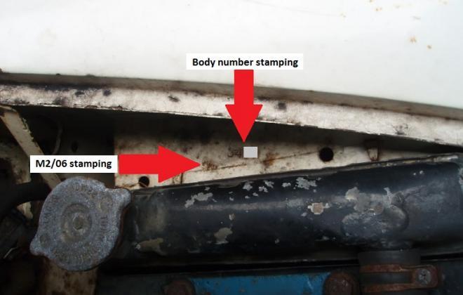 Radiator shroud stamping of body number m2 06 MK1 Cooper S Australia.jpg