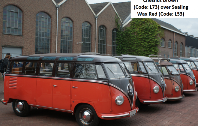 Rear samba bus 1954 microbus VW 1 Chesnut Brown (Code L73) over Sealing Wax Red (Code L53)1.png