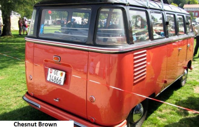Rear samba bus 1954 microbus VW 1 Chesnut Brown (Code L73) over Sealing Wax Red (Code L53).png