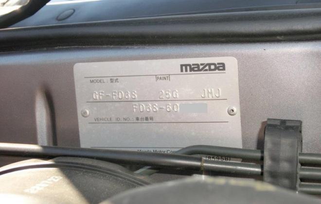 Series 6 Mazda FD RX7 Spirit R Chassis number - VIN plate firewall bulkhead.JPG