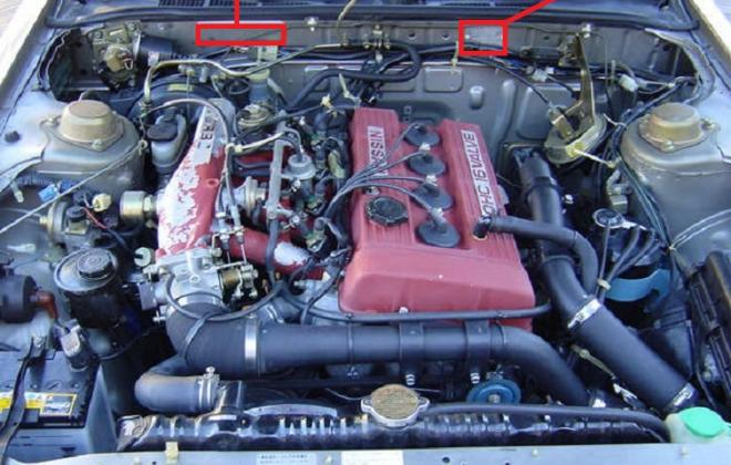 Silver DR30 RSX Turbo C sedan engine bay chassis number locations.jpg