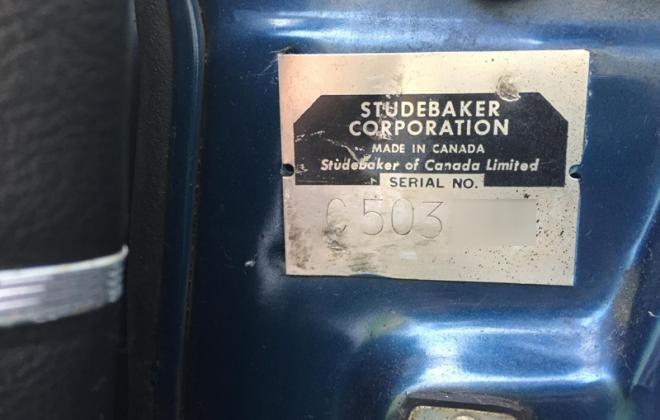 Studebaker Series II 2 VIN plate door jamb 1964 Canadian Daytona.png