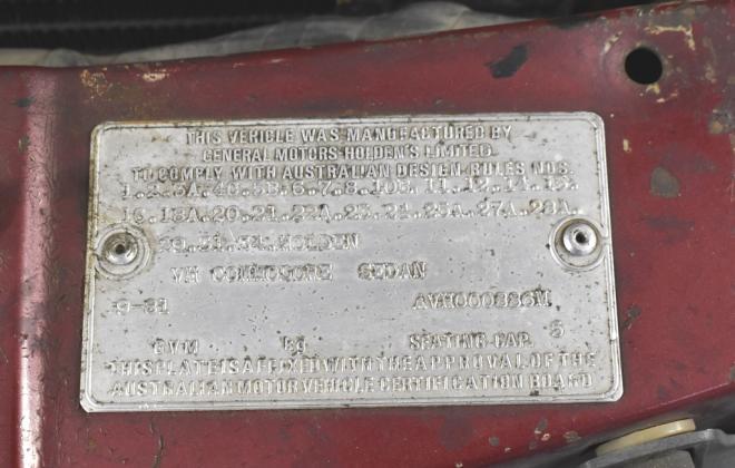 Two tone 1981 VH commodore SL-E VIN plate (3).jpg