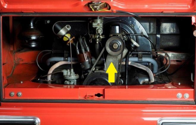 Volkswagen Deluxe Microbus engine number locatoin engine bay 1955.jpg