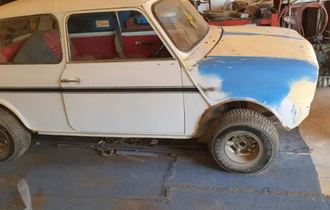 White 1980 Leyland Mini GTS South Africa barn find 2021 (1).png