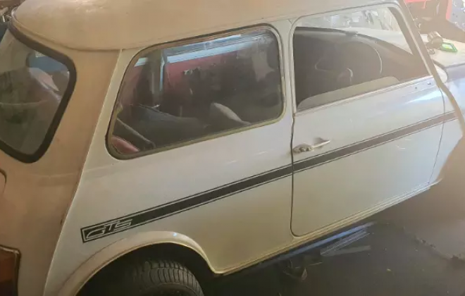 White 1980 Leyland Mini GTS South Africa barn find 2021 (5).png