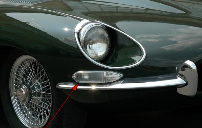XKE E-Type Jaguar front indicator lens US spec clear lens image 1968 Series 1.5.png
