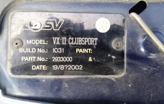 XV HSV Clubsport HSV build plate.jpg